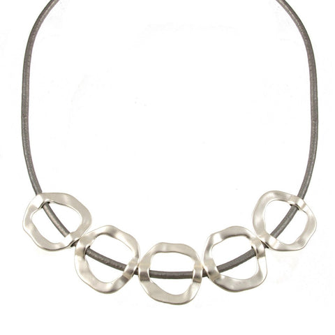 Hammered Circles Necklace-Silver and Grey