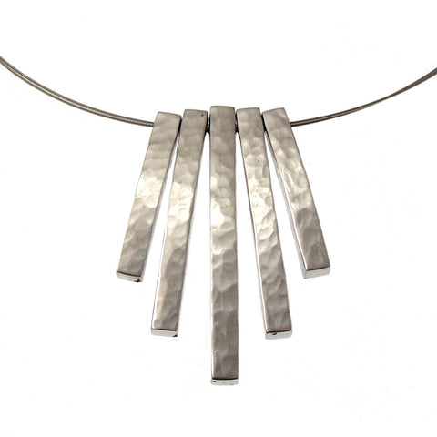 Hammered Aluminum 5-Piece Necklace