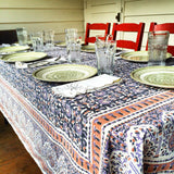 Purple Floral Block Printed Table Cloth - KinShop Ethical Trading   - 2