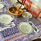 Purple Floral Block Printed Table Cloth - KinShop Ethical Trading   - 1