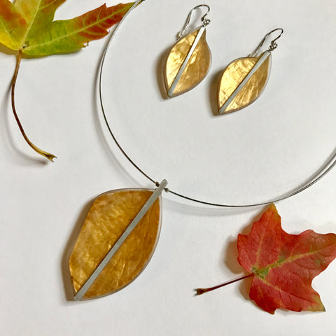 Leaf Necklace-Golden