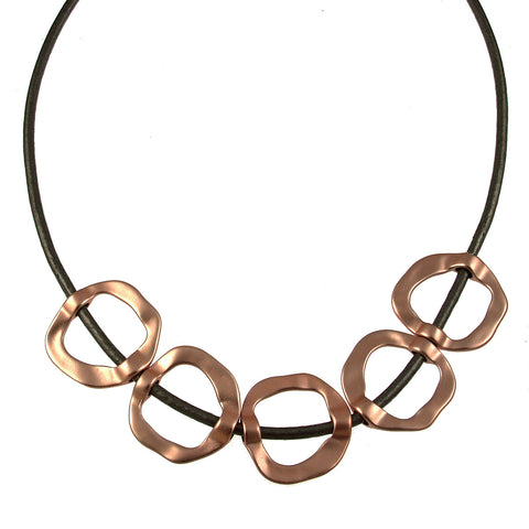 Hammered Circles Necklace-Rose Gold/Deep Grey