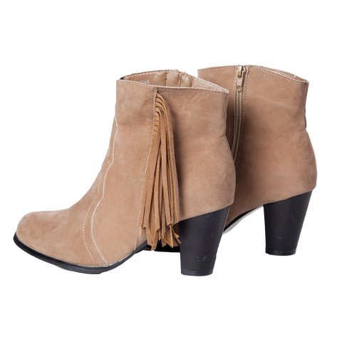 Suede Tassle Ankle Boots - Oatmeal