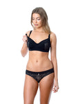 HOTMILK ENLIGHTEN BLACK PREGNANCY NURSING BREASTFEEDING- FLEXI UNDERWIRE MATCHED WITH THE TEMPTATION BLACK BIKINI BRIEF