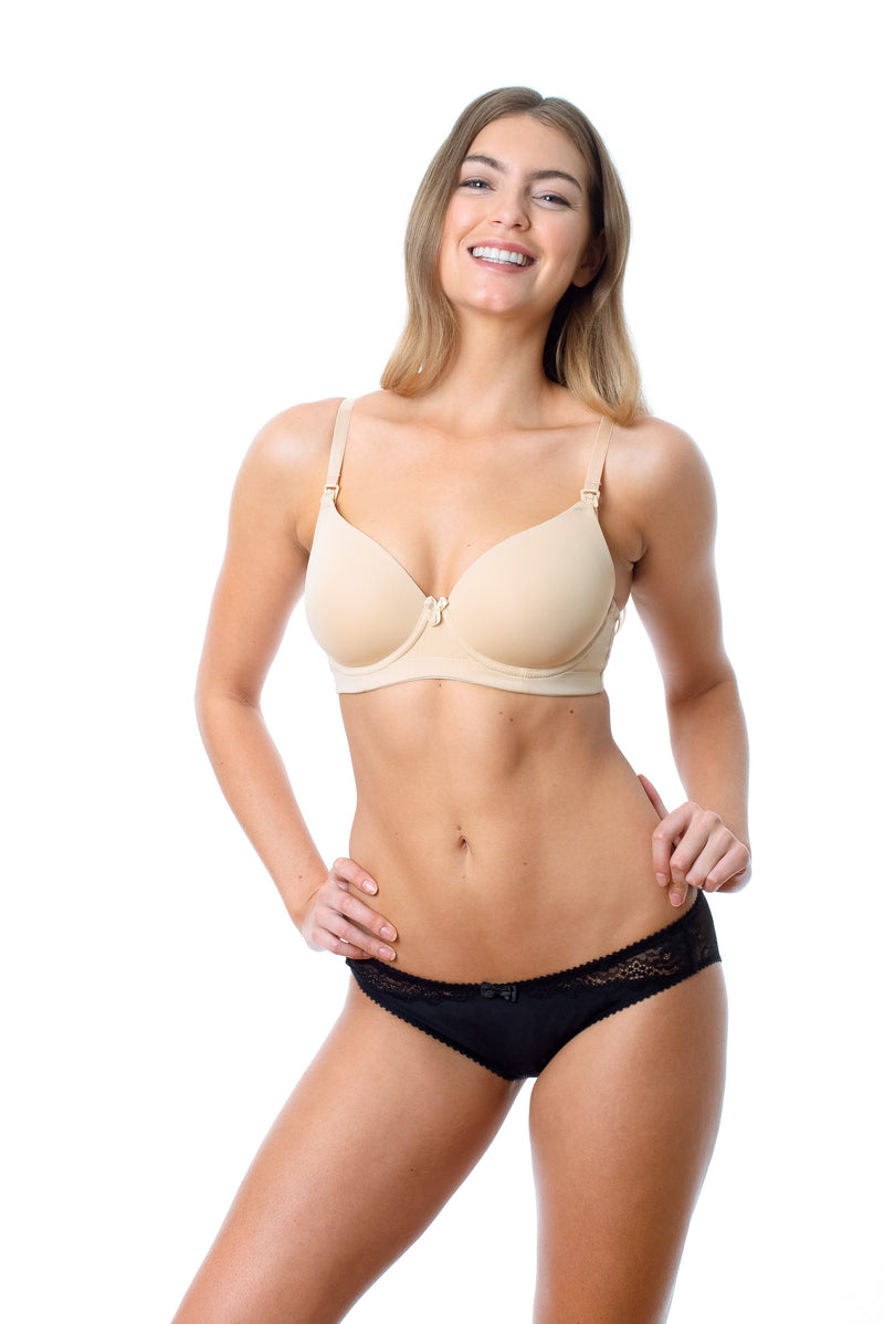 HOTMILK FOREVER YOURS NUDE CONTOUR PREGNANCY BREASTFEEDING NURSING BRA - FLEXI UNDERWIRE WITH ECLIPSE BLACK BIKINI BRIEF