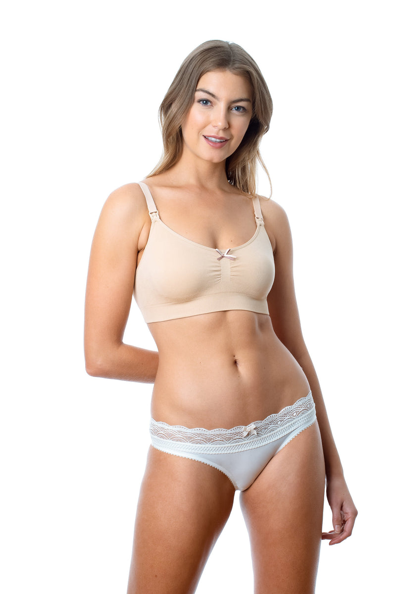HOTMILK MY NECESSITY NUDE NURSING PREGNANCY BREASTFEEDING SLEEP HOSPITAL BRA - WIREFREE WITH SHOW OFF IVORY BIKINI BRIEF