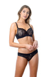 Hotmilk Temptation Black Prgenancy Nursing breastfeeding bra with matching black Temptation bikini for maternity