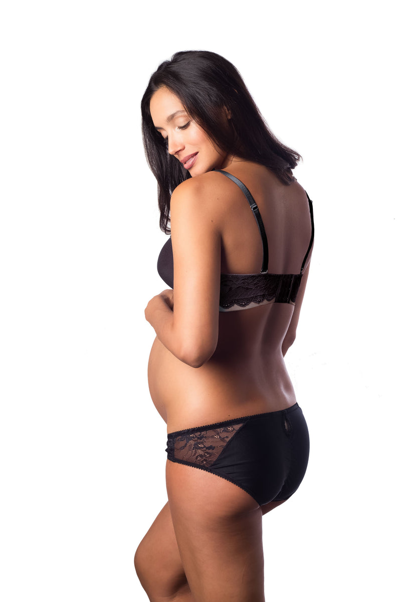 FOREVER YOURS LACE BLACK CONTOUR NURSING PREGNANCY BRA - FLEXIWIRE