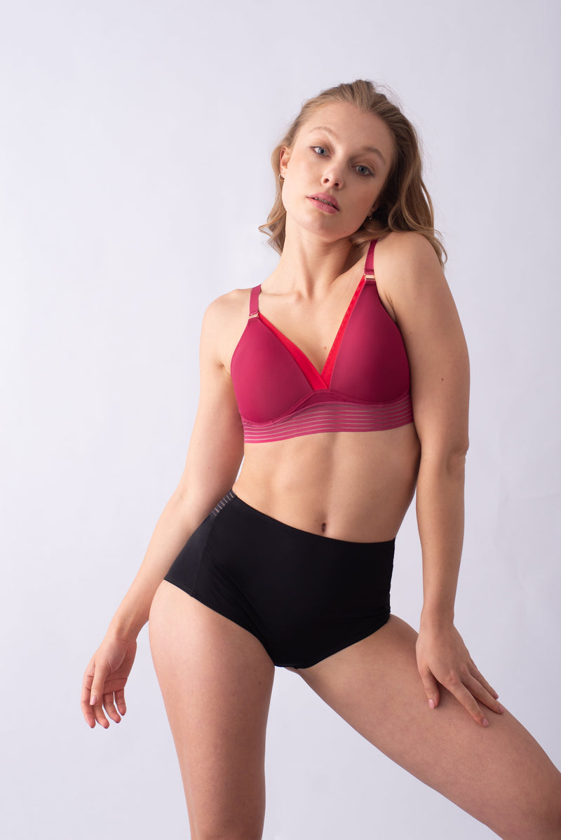 HOTMILK PROJECTME AMBITION TRIANGLE SANGRIA CONTOUR NURSING BREASTFEEDING PREGNANCY BRA - WIREFREE