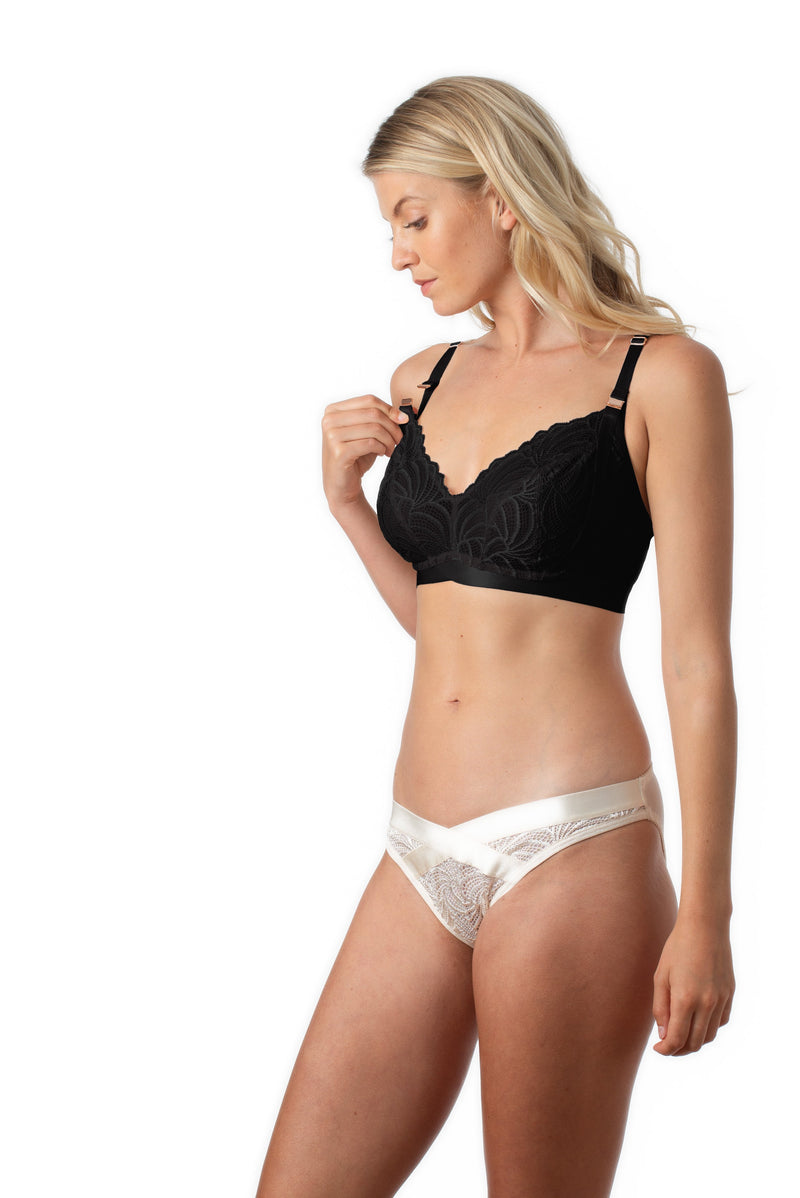 WARRIOR BLACK SOFT CUP PREGNANCY BREASTFEEDING NURSING BRA - WIREFREE WITH WARRIOR BIKINI