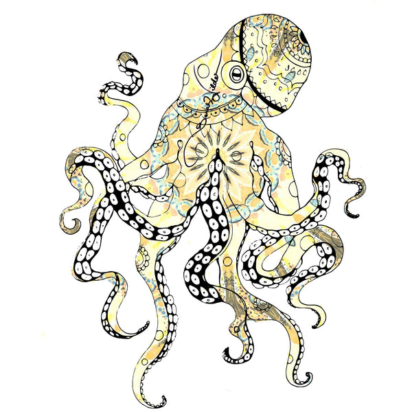 OCTOPUS ILLUSTRATION SARAH WILDER SPIRIT ANIMAL COLOURING BOOK