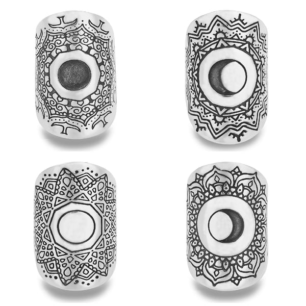 4 PIECE LUMINARIES MOON PHASE MANDALA RING SET IN STERLING SILVER