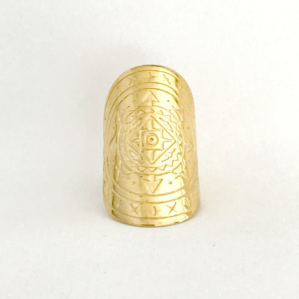 AIRESS MANDALA RING - PLATED 18K YELLOW GOLD PRE-ORDER (LATE AUG DELIVERY)