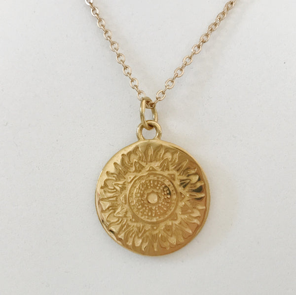 CLARITY MANDALA PENDANT NECKLACE - PLATED 18K YELLOW GOLD (PRE-ORDER SEPT DELIVERY)