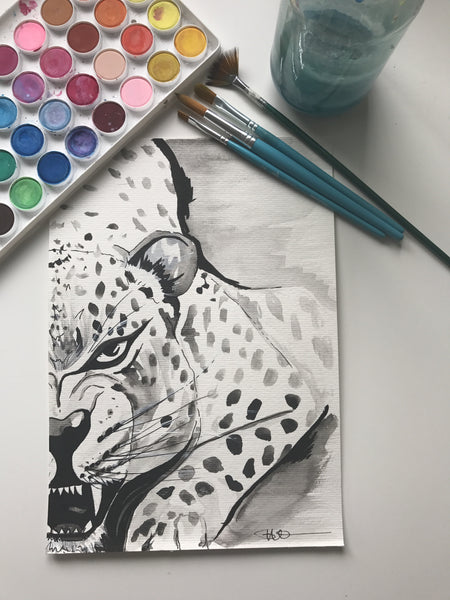 JAGUAR - ORIGINAL WATERCOLOUR ANIMAL PORTRAIT BY SARAH WILDER
