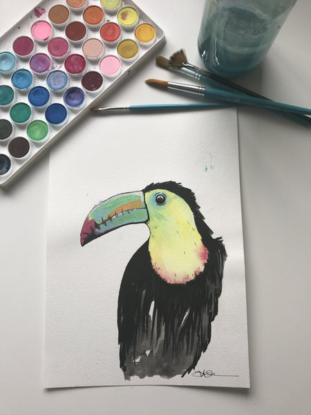 TOUCAN - ORIGINAL WATERCOLOUR ANIMAL PORTRAIT BY SARAH WILDER