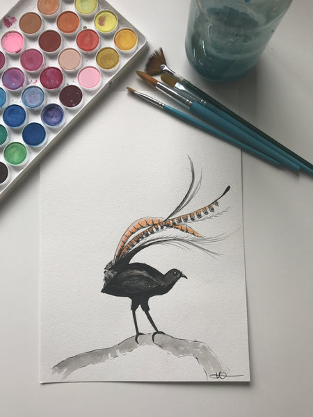LYRE BIRD - ORIGINAL WATERCOLOUR ANIMAL PORTRAIT BY SARAH WILDER