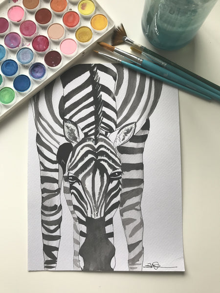 ZEBRA - ORIGINAL WATERCOLOUR ANIMAL PORTRAIT BY SARAH WILDER