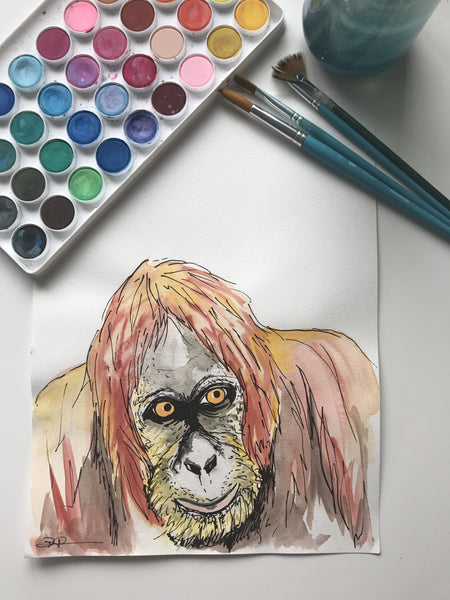 ORANGUTAN - ORIGINAL WATERCOLOUR ANIMAL PORTRAIT BY SARAH WILDER