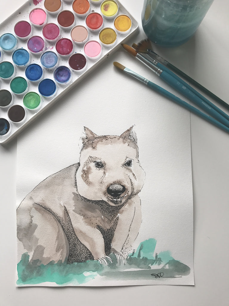 WOMBAT - ORIGINAL WATERCOLOUR ANIMAL PORTRAIT BY SARAH WILDER