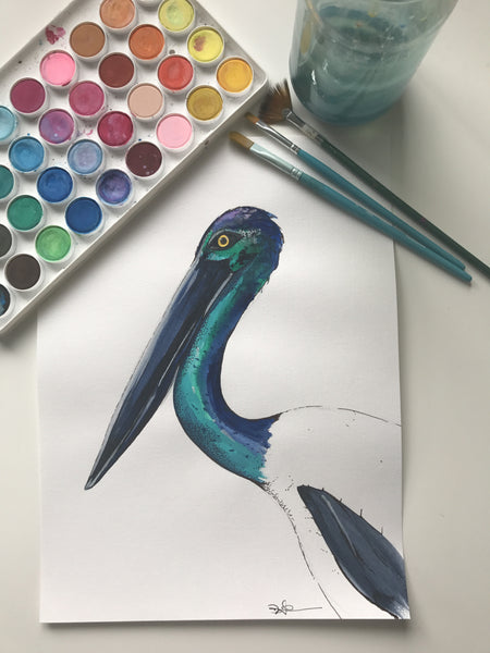 JABIRU - ORIGINAL WATERCOLOUR ANIMAL PORTRAIT BY SARAH WILDER