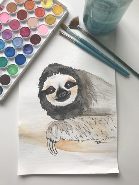 SLOTH - ORIGINAL WATERCOLOUR ANIMAL PORTRAIT BY SARAH WILDER