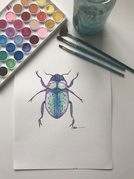 BEETLE - ORIGINAL WATERCOLOUR ANIMAL PORTRAIT BY SARAH WILDER