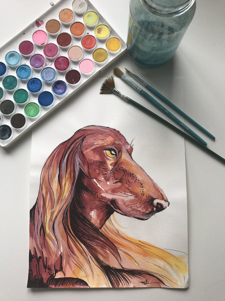 DOG - ORIGINAL WATERCOLOUR ANIMAL PORTRAIT BY SARAH WILDER