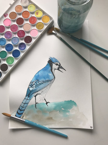 BLUEBIRD - ORIGINAL WATERCOLOUR ANIMAL PORTRAIT BY SARAH WILDER