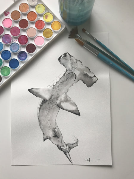 SHARK - ORIGINAL WATERCOLOUR ANIMAL PORTRAIT BY SARAH WILDER