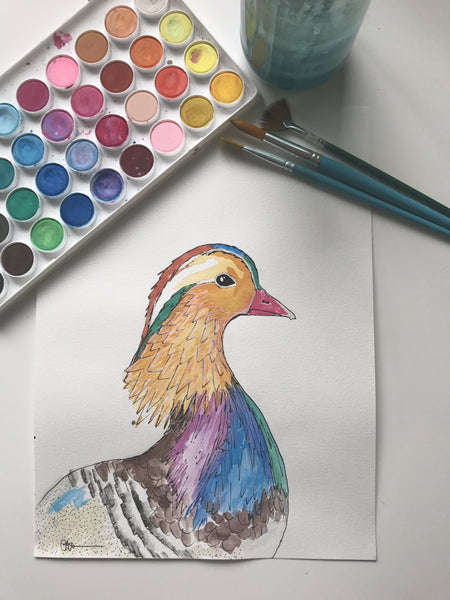 DUCK - ORIGINAL WATERCOLOUR ANIMAL PORTRAIT BY SARAH WILDER