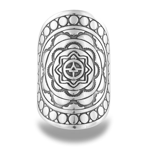 WATERESS MANDALA RING IN STERLING SILVER