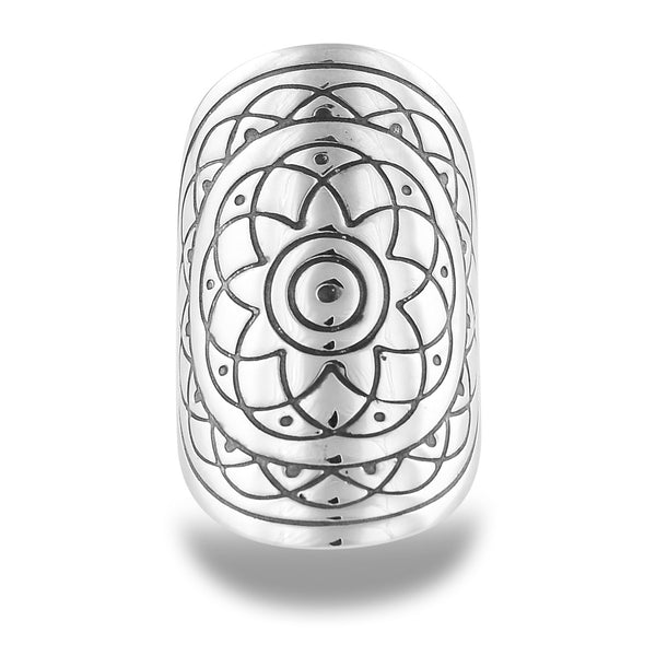 REBIRTH MANDALA RING IN STERLING SILVER