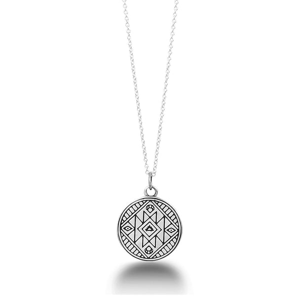 'SEEK YOUR OWN TRUTH' MANTRA MANDALA PENDANT NECKLACE IN STERLING SILVER