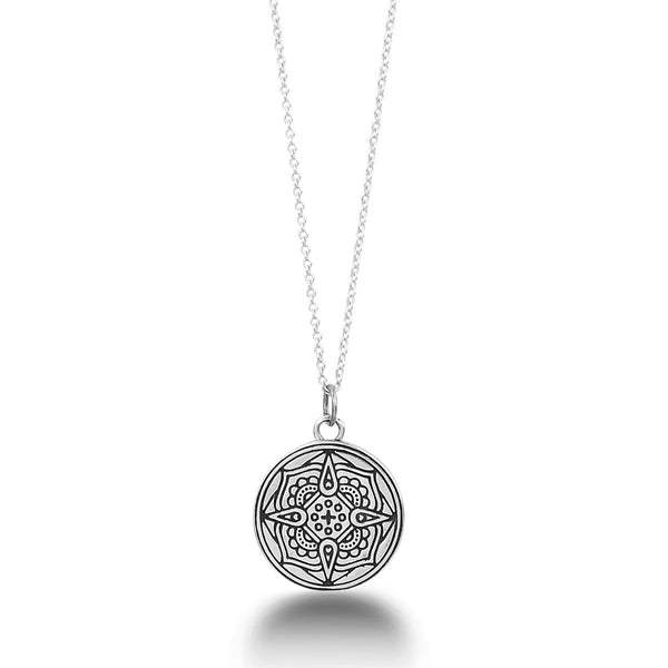 PATIENCE, PRESENCE + PRIORITY MANTRA MANDALA PENDANT NECKLACE