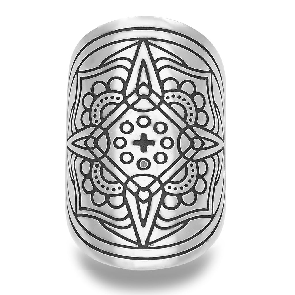 'PATIENCE, PRESENCE + PRIORITY' MANTRA MANDALA RING IN STERLING SILVER