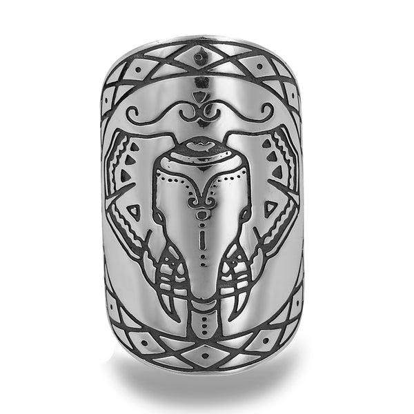 ELEPHANT KIN MANDALA RING IN STERLING SILVER