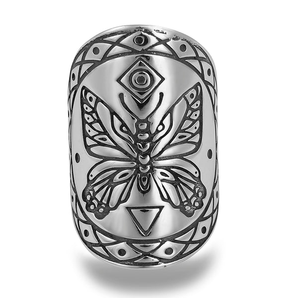 BUTTERFLY KIN MANDALA RING IN STERLING SILVER