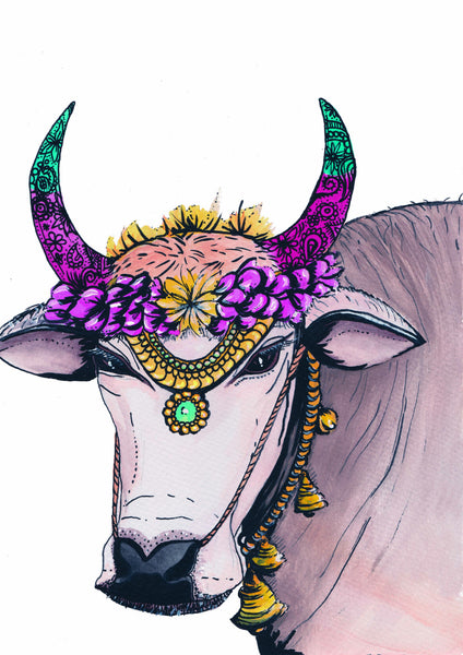 'COW OF FEMINITY' WATERCOLOUR PRINT