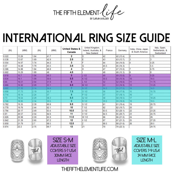 International Ring Size Guide for The Fifth Element Life