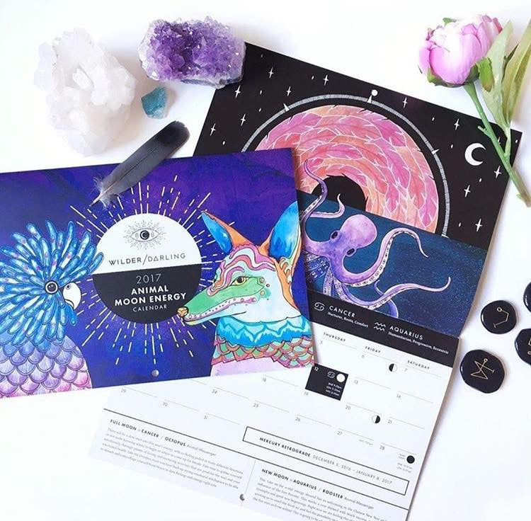 Animal Moon Energy Calendar by Wilder Darling (PLEASE SELECT YOUR LOCATION IN DROPDOWN)