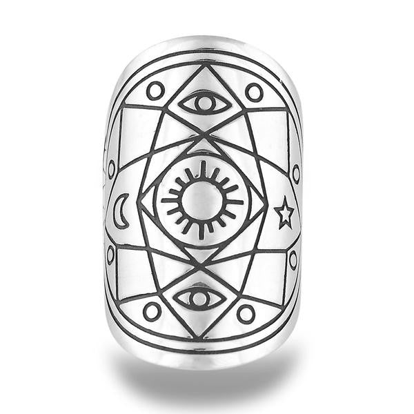 'CONSCIOUSLY COMPLETE' MANTRA MANDALA RING IN STERLING SILVER