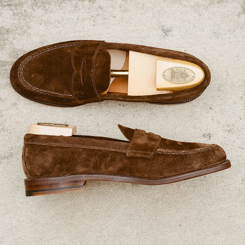 Alden Dark Brown Suede Unlined Penny Loafer