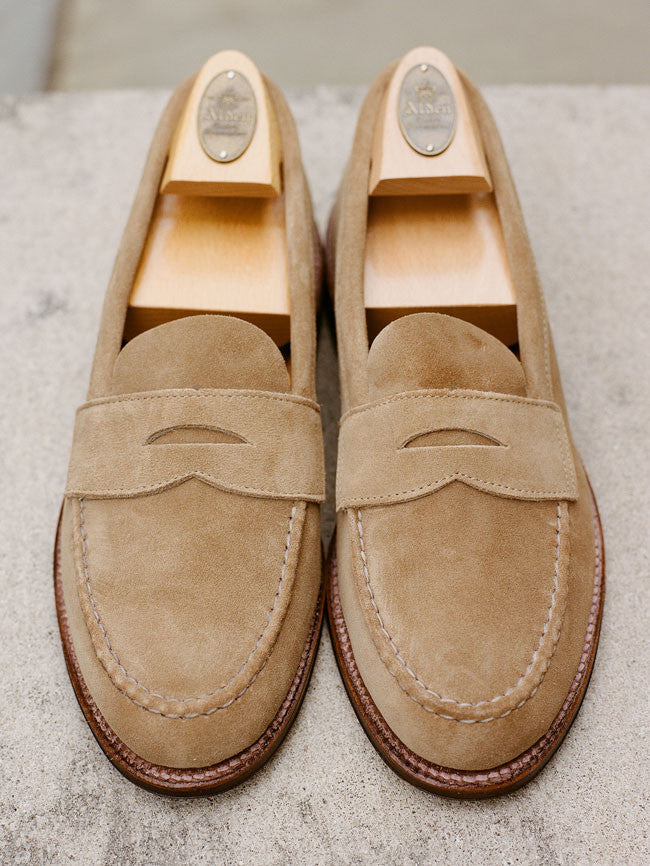 a18916d00cc Alden Tan Suede Unlined Penny Loafer Alden Tan Suede Unlined Penny Loafer