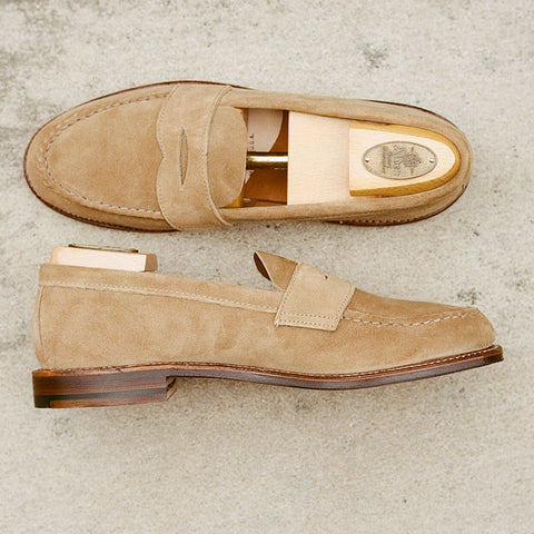 Alden Tan Suede Unlined Penny Loafer