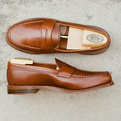 9ccabc1964e Alden Burnished Tan Leisure Hand-sewn Penny Loafer