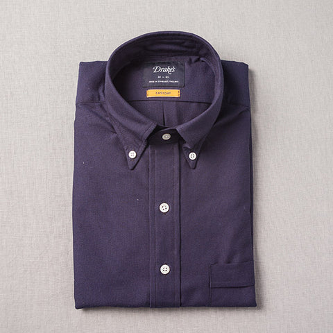 Drake's Navy Oxford Cloth Shirt