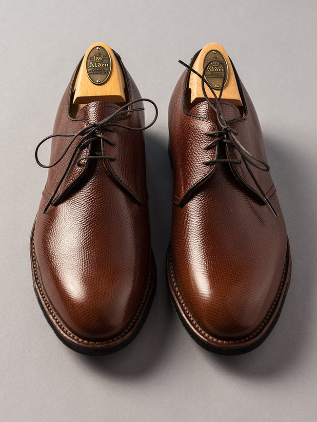 Alden Brown Pebble Grain Plain Toe Blucher
