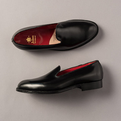 Alden Black Plain Toe Slip On