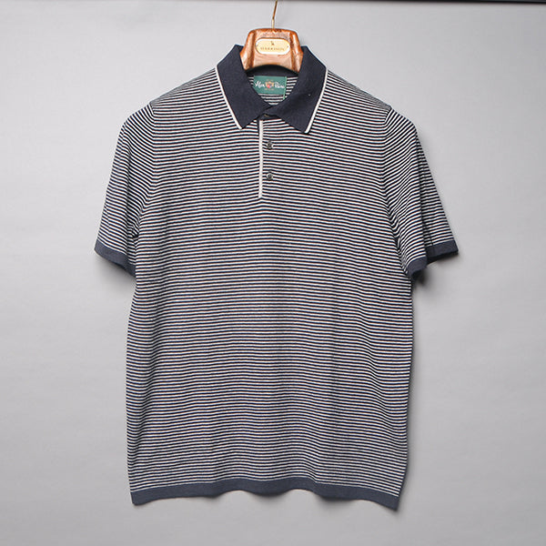 Alan Paine Navy Luxury Knit Stripe Polo